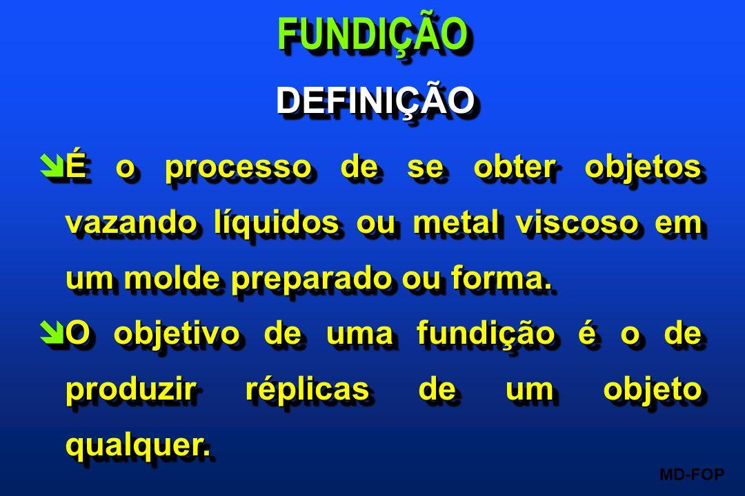 FUNDIÇÃO DEFINIÇÃO. É o processo de se obter objetos vazando líquidos ou metal viscoso em um molde preparado ou forma.
