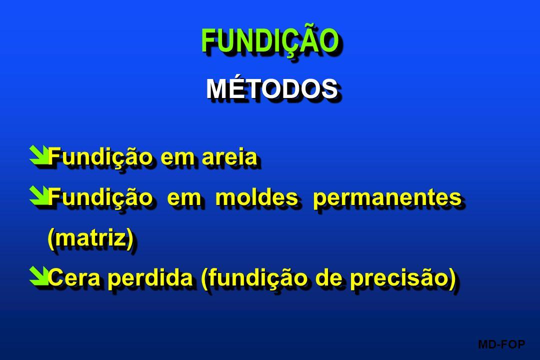 FUNDIÇÃO MÉTODOS Fundição em areia Fundição em moldes permanentes