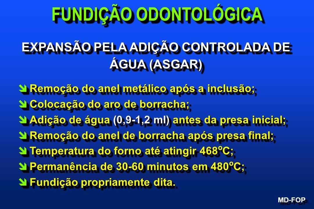 FUNDIÇÃO ODONTOLÓGICA EXPANSÃO PELA ADIÇÃO CONTROLADA DE ÁGUA (ASGAR)
