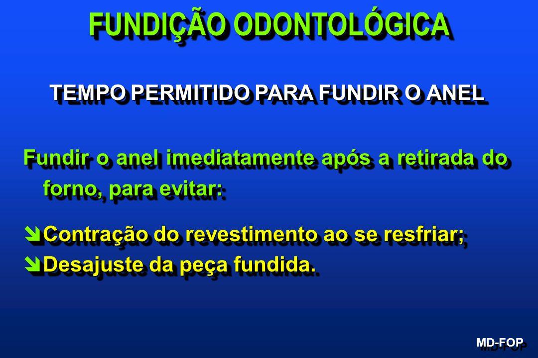 FUNDIÇÃO ODONTOLÓGICA TEMPO PERMITIDO PARA FUNDIR O ANEL