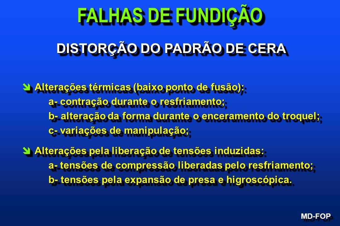 DISTORÇÃO DO PADRÃO DE CERA