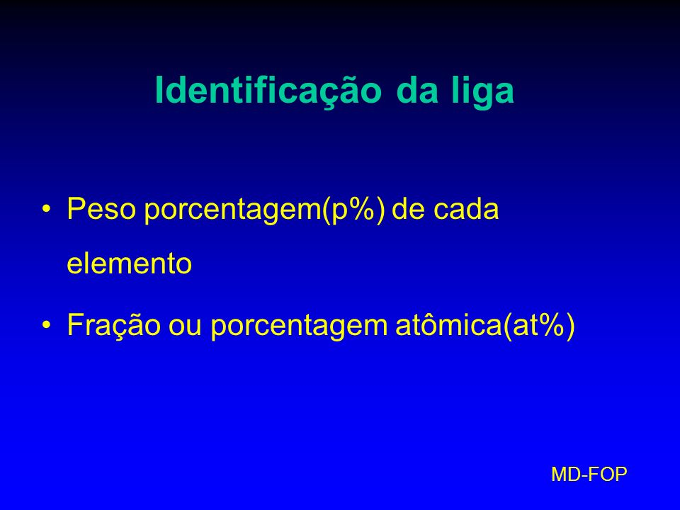 Identificação da liga Peso porcentagem(p%) de cada elemento
