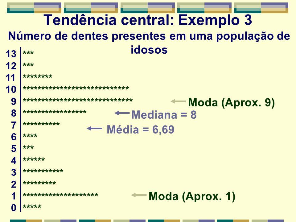 Tendência central: Exemplo 3