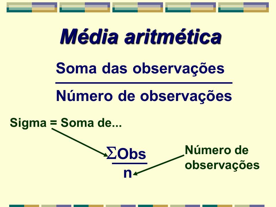 Média aritmética Obs Soma das observações Número de observações n
