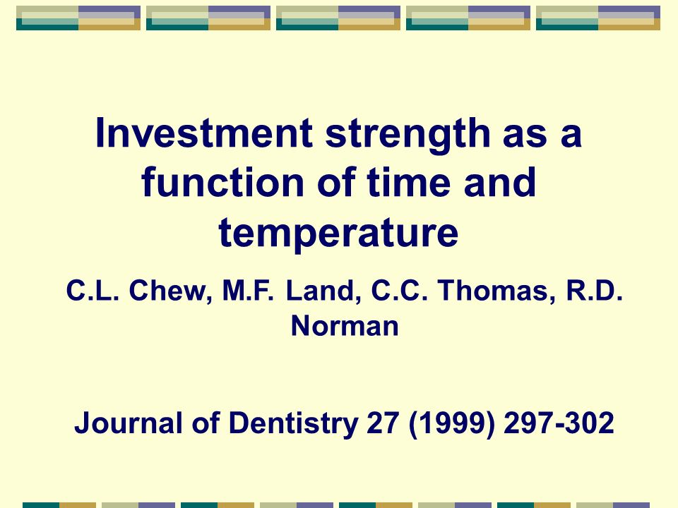 Investment strength as a function of time and temperature