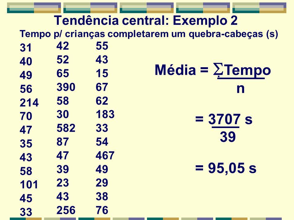 Tendência central: Exemplo 2