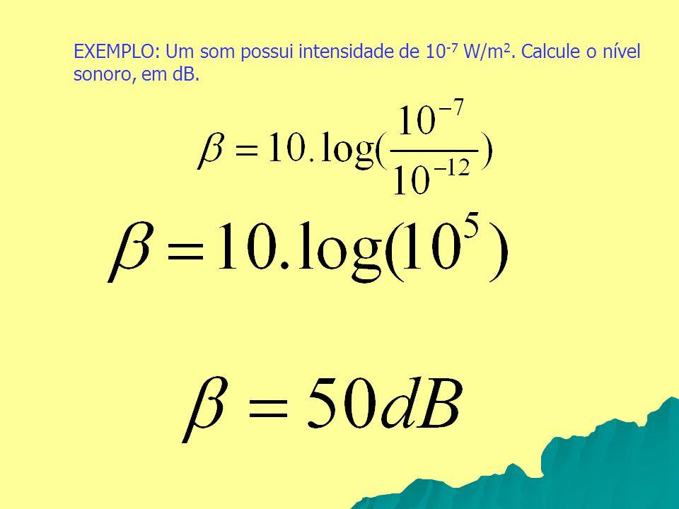 EXEMPLO: Um som possui intensidade de 10-7 W/m2