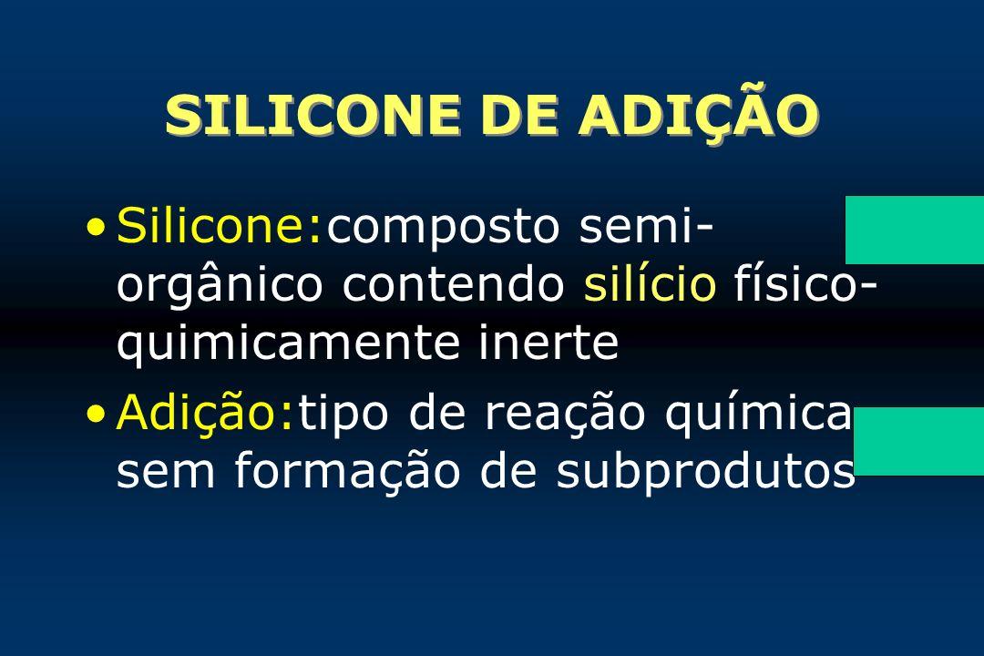 SILICONE DE ADIÇÃO Silicone:composto semi-orgânico contendo silício físico-quimicamente inerte.