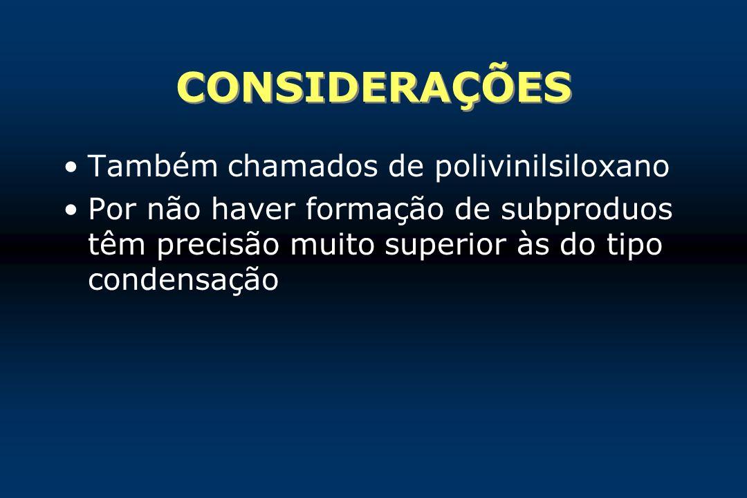 CONSIDERAÇÕES Também chamados de polivinilsiloxano