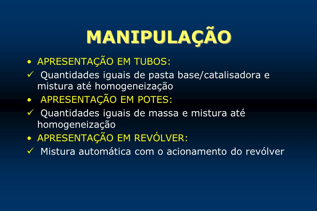 MANIPULAÇÃO APRESENTAÇÃO EM TUBOS: