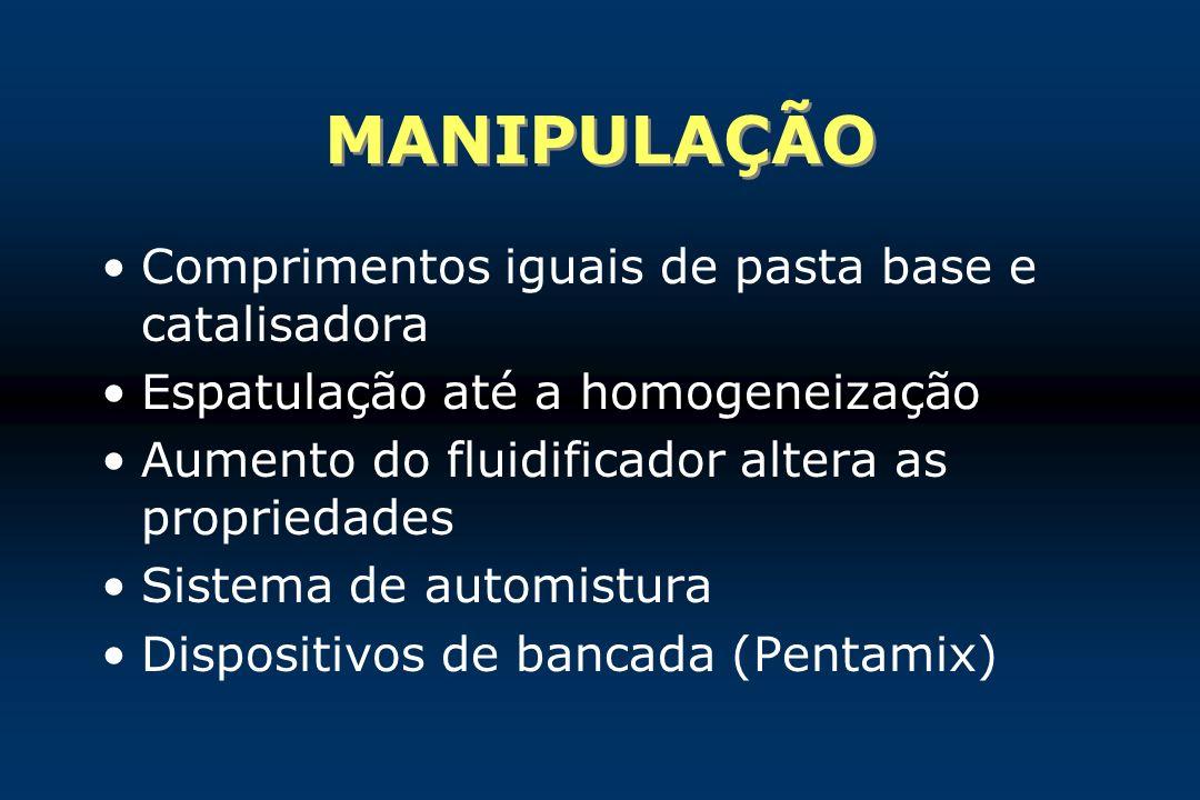 MANIPULAÇÃO Comprimentos iguais de pasta base e catalisadora