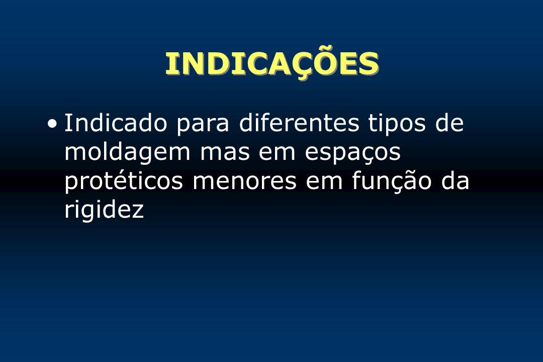INDICAÇÕES Indicado para diferentes tipos de moldagem mas em espaços protéticos menores em função da rigidez.