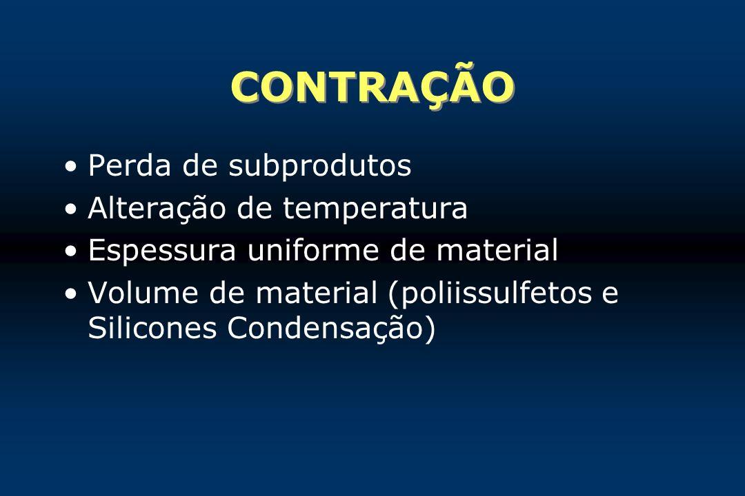 CONTRAÇÃO Perda de subprodutos Alteração de temperatura
