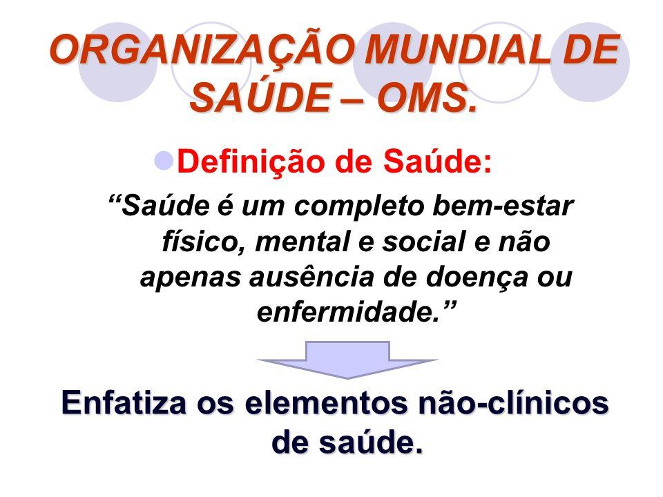 ORGANIZAÇÃO MUNDIAL DE SAÚDE – OMS.