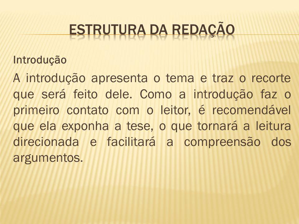Estrutura da redação Introdução.