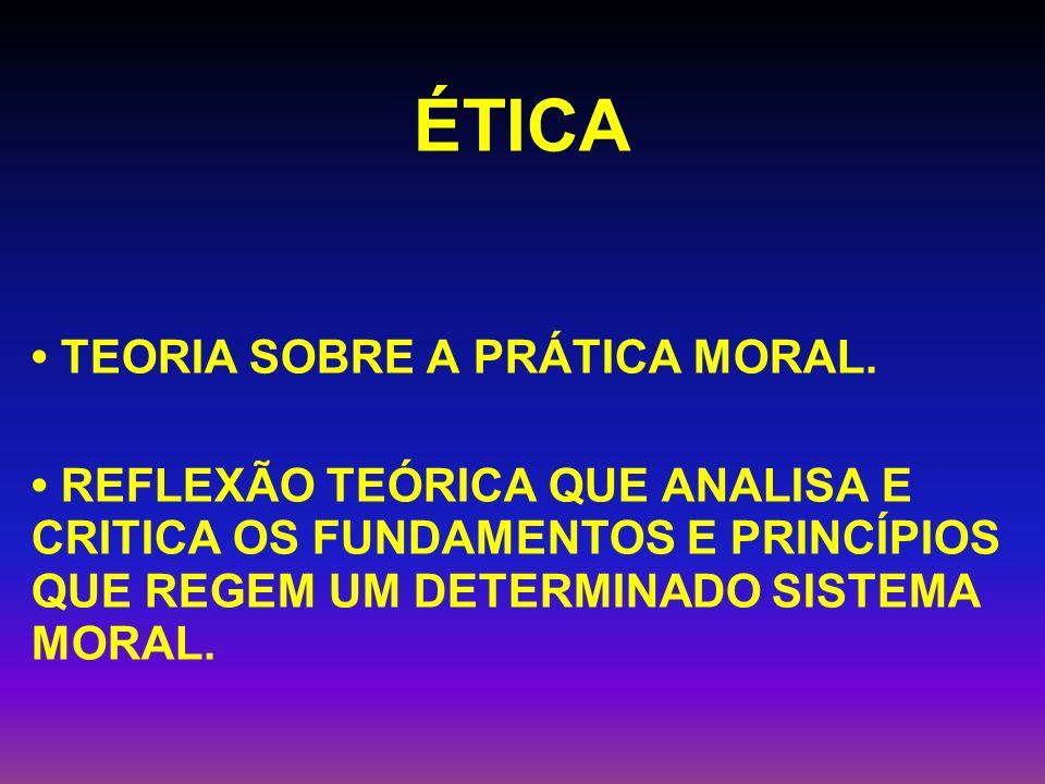 ÉTICA • TEORIA SOBRE A PRÁTICA MORAL.