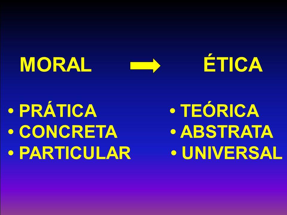 MORAL ÉTICA • PRÁTICA • TEÓRICA • CONCRETA • ABSTRATA