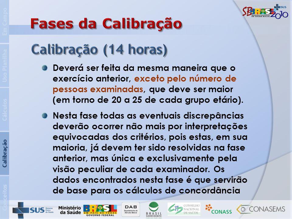 Fases da Calibração Calibração (14 horas)