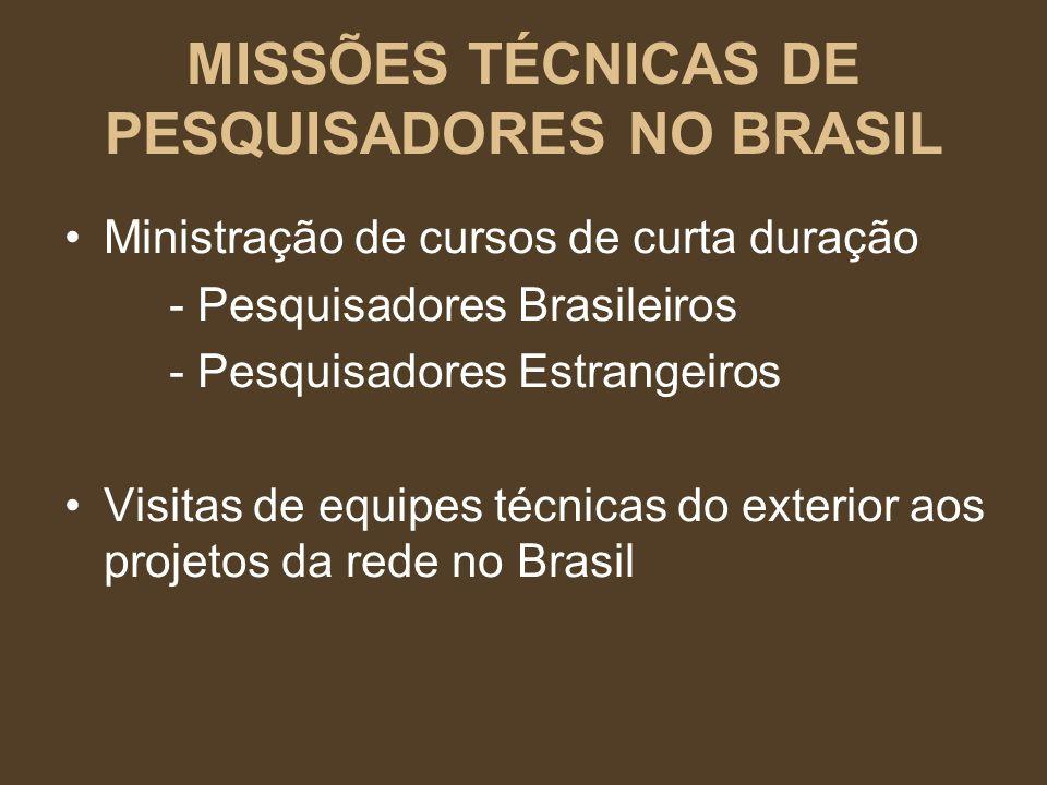 MISSÕES TÉCNICAS DE PESQUISADORES NO BRASIL
