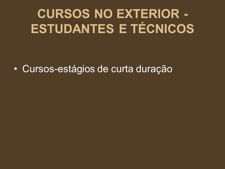 CURSOS NO EXTERIOR - ESTUDANTES E TÉCNICOS