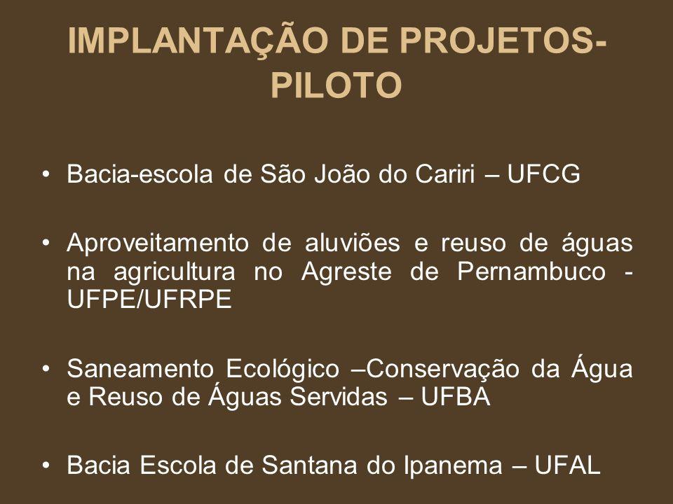 IMPLANTAÇÃO DE PROJETOS-PILOTO