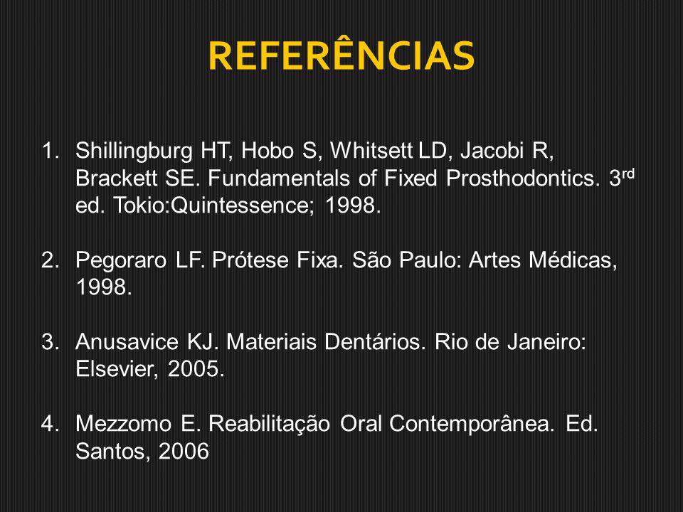 REFERÊNCIAS Shillingburg HT, Hobo S, Whitsett LD, Jacobi R, Brackett SE. Fundamentals of Fixed Prosthodontics. 3rd ed. Tokio:Quintessence; 1998.