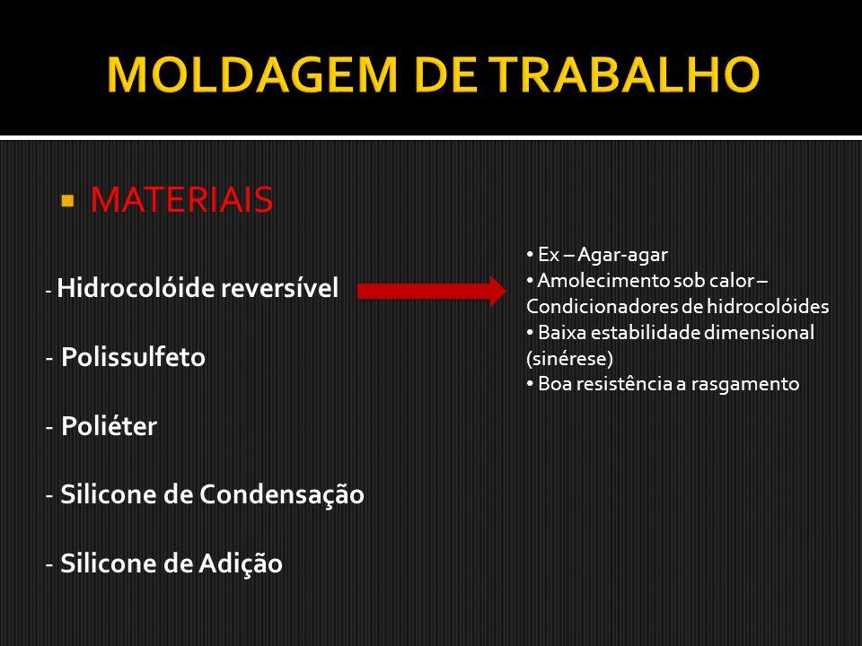 MOLDAGEM DE TRABALHO MATERIAIS Polissulfeto Poliéter