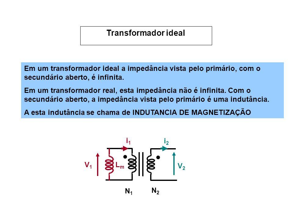 Em um transformador ideal a impedância vista pelo primário, com o secundário aberto, é infinita.