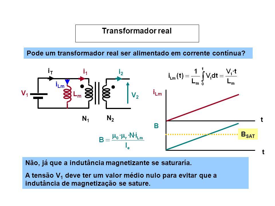 Pode um transformador real ser alimentado em corrente contínua