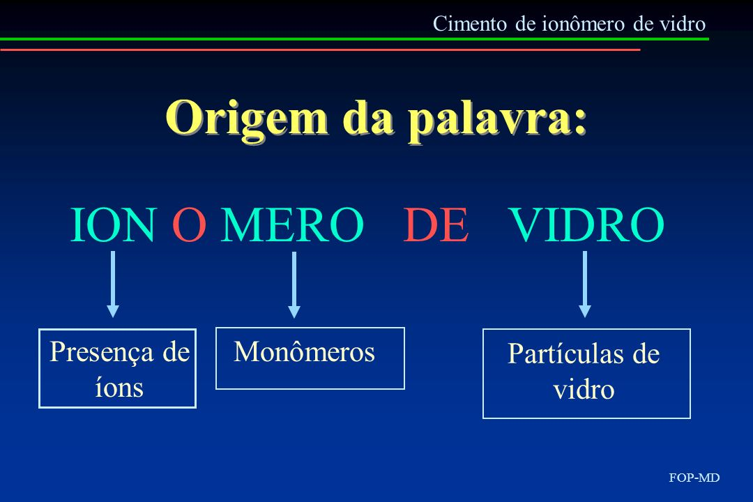 Origem da palavra: ION O MERO DE VIDRO Presença de íons Monômeros