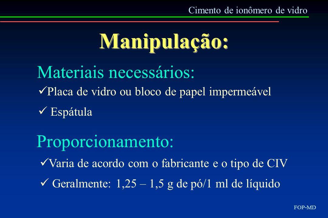Manipulação: Materiais necessários: Proporcionamento: