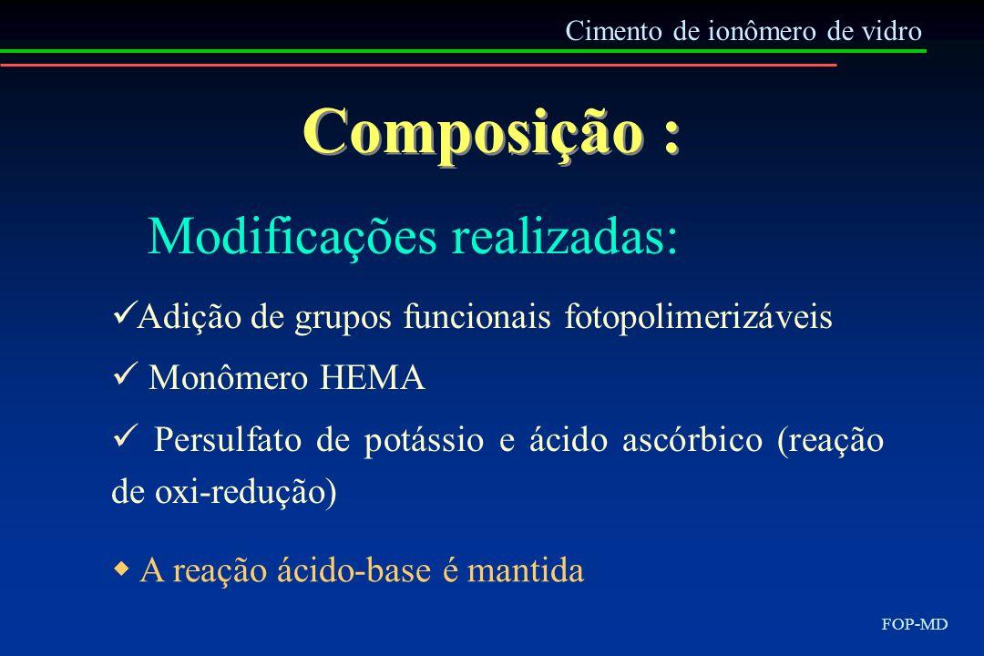 Composição : Modificações realizadas: