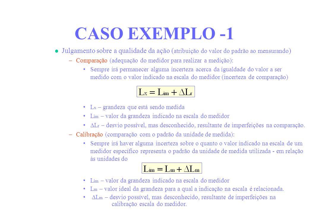 CASO EXEMPLO -1 Julgamento sobre a qualidade da ação (atribuição do valor do padrão ao mensurando)