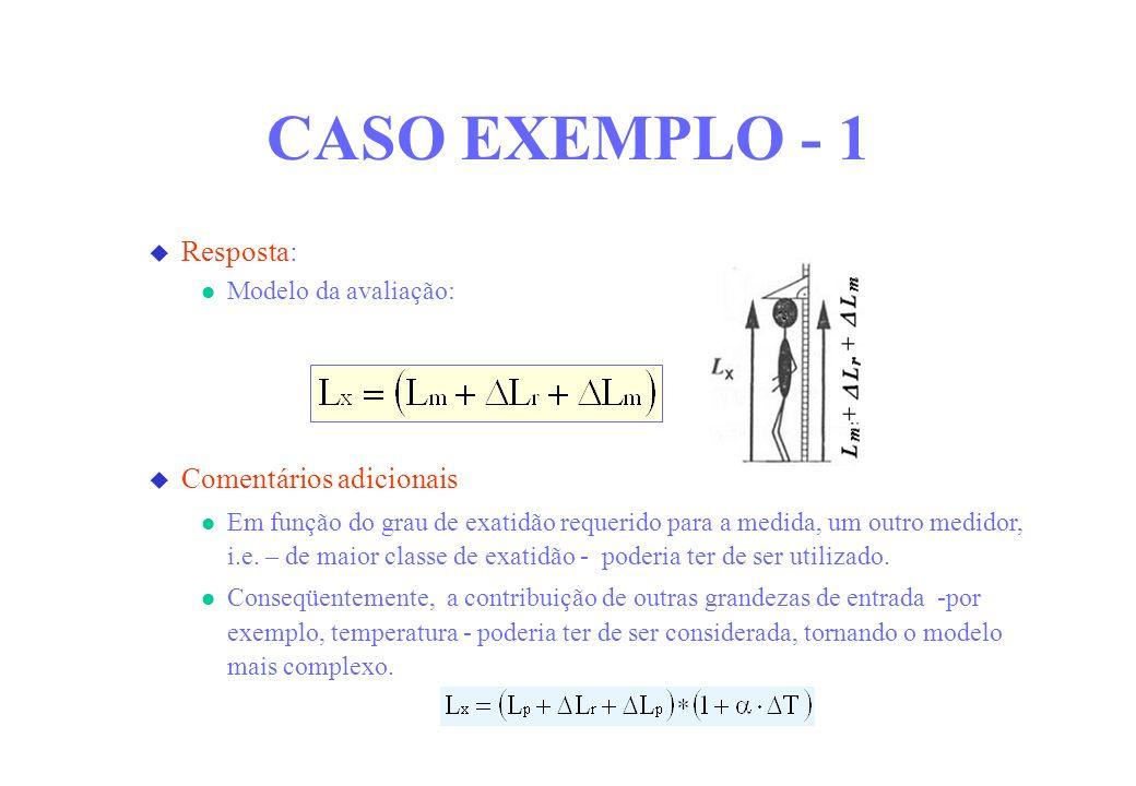 CASO EXEMPLO - 1 Resposta: Comentários adicionais Modelo da avaliação: