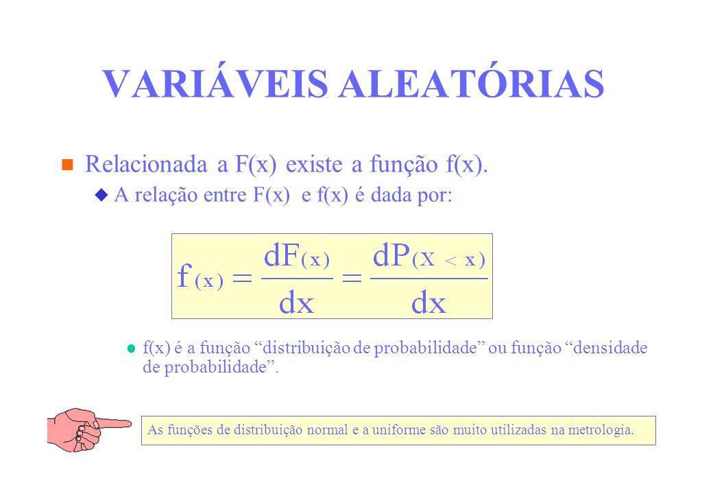 VARIÁVEIS ALEATÓRIAS Relacionada a F(x) existe a função f(x).