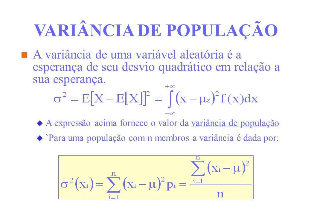 VARIÂNCIA DE POPULAÇÃO