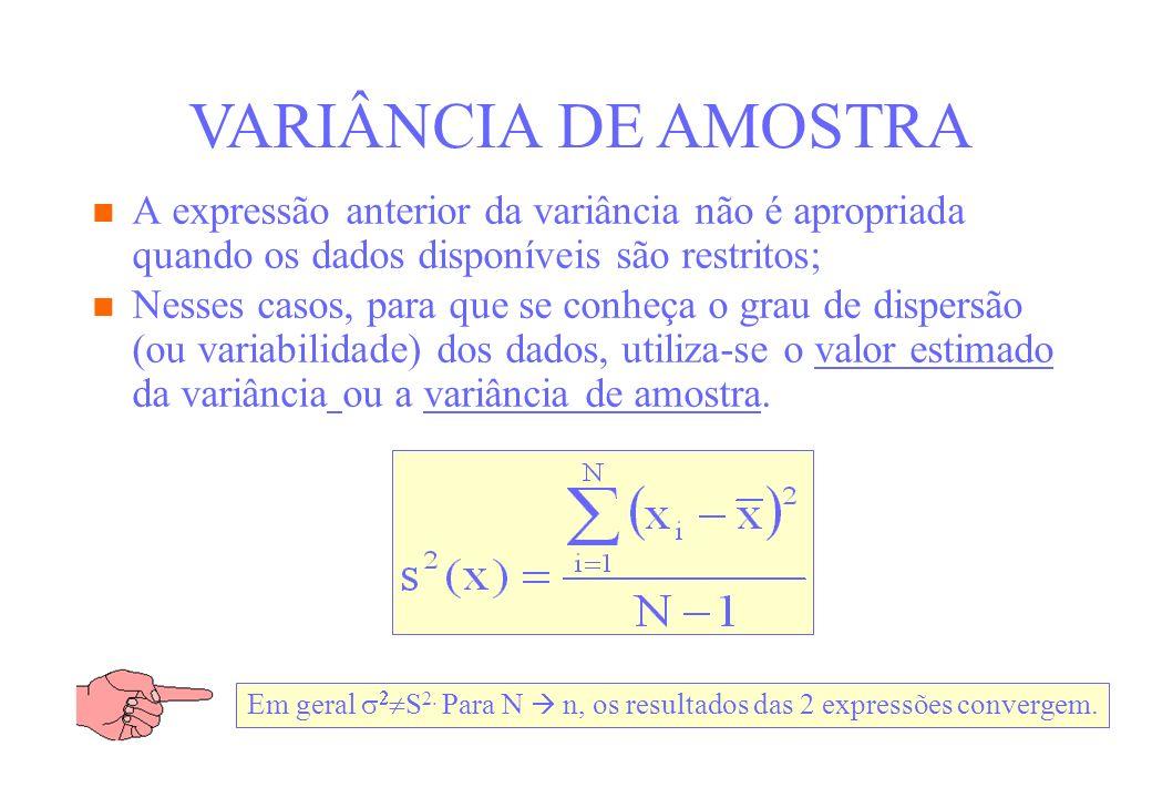 VARIÂNCIA DE AMOSTRA A expressão anterior da variância não é apropriada quando os dados disponíveis são restritos;