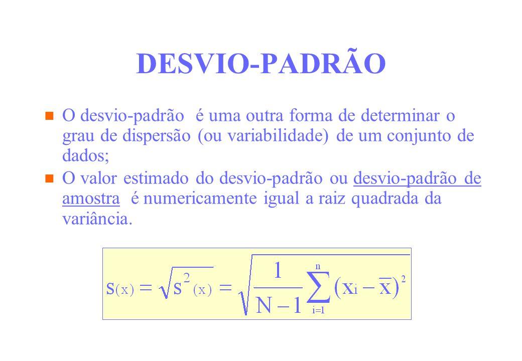 DESVIO-PADRÃO O desvio-padrão é uma outra forma de determinar o grau de dispersão (ou variabilidade) de um conjunto de dados;
