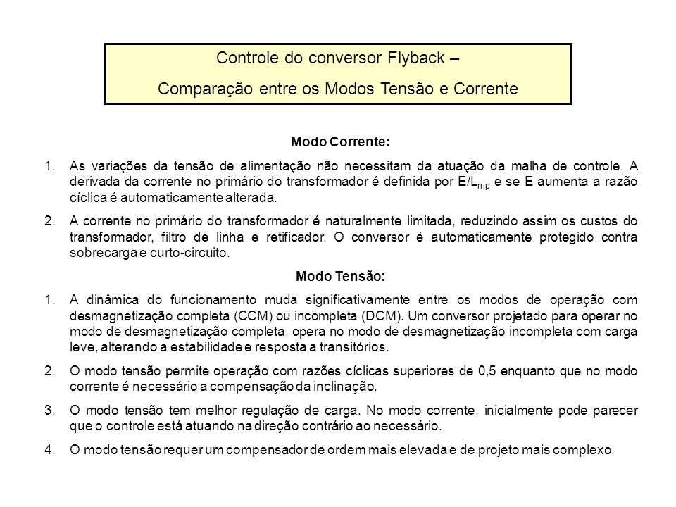 Controle do conversor Flyback –