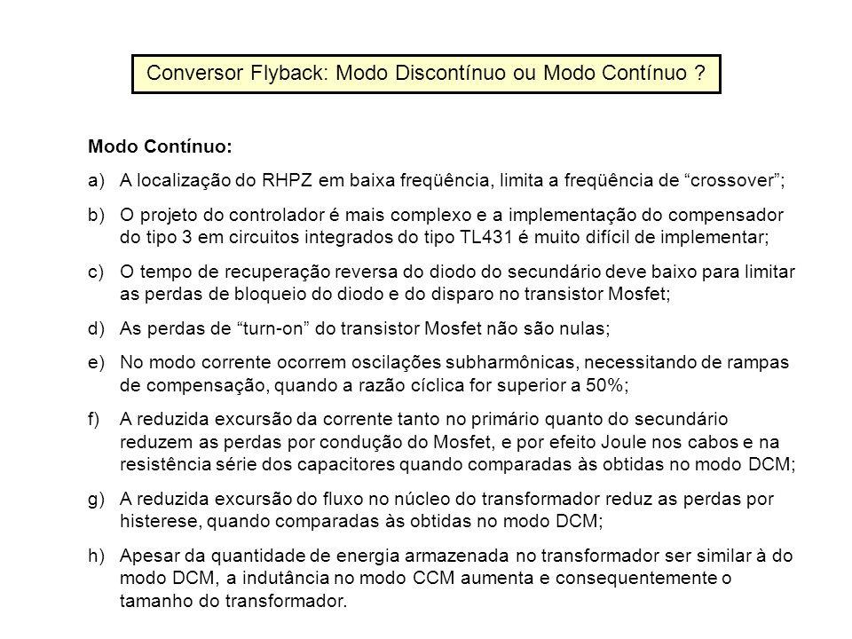 Conversor Flyback: Modo Discontínuo ou Modo Contínuo