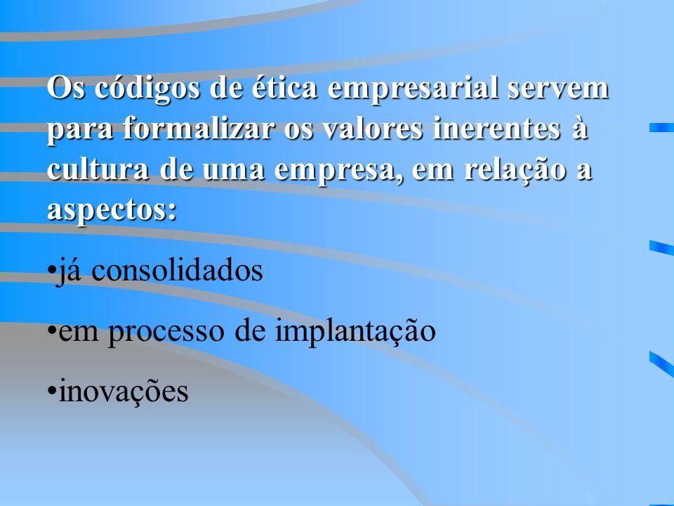 Os códigos de ética empresarial servem para formalizar os valores inerentes à cultura de uma empresa, em relação a aspectos: