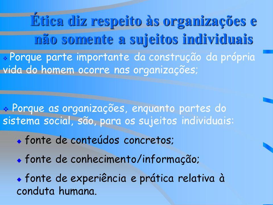 Ética diz respeito às organizações e não somente a sujeitos individuais