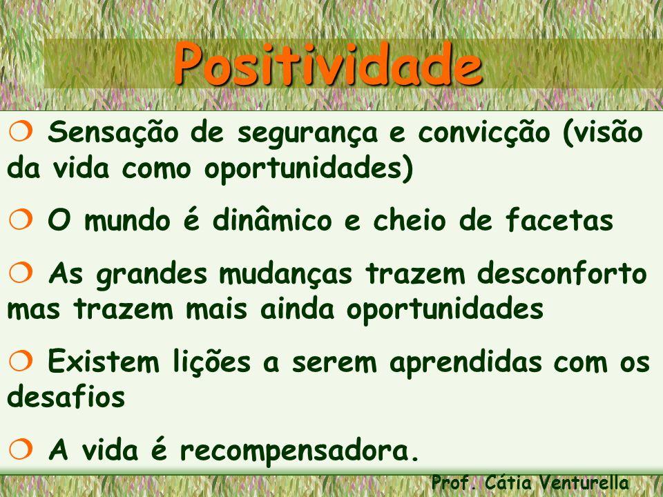 Positividade Sensação de segurança e convicção (visão da vida como oportunidades) O mundo é dinâmico e cheio de facetas.