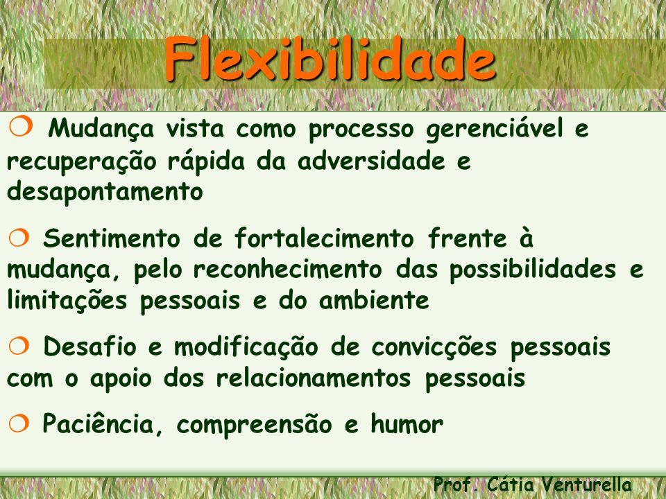 Flexibilidade Mudança vista como processo gerenciável e recuperação rápida da adversidade e desapontamento.