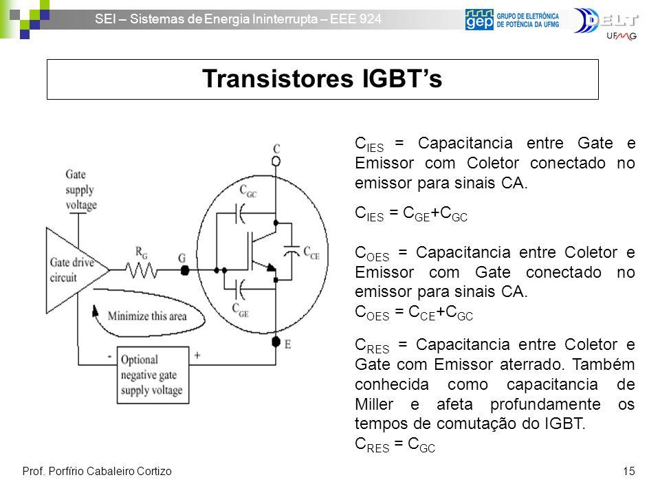 Transistores IGBT's CIES = Capacitancia entre Gate e Emissor com Coletor conectado no emissor para sinais CA.