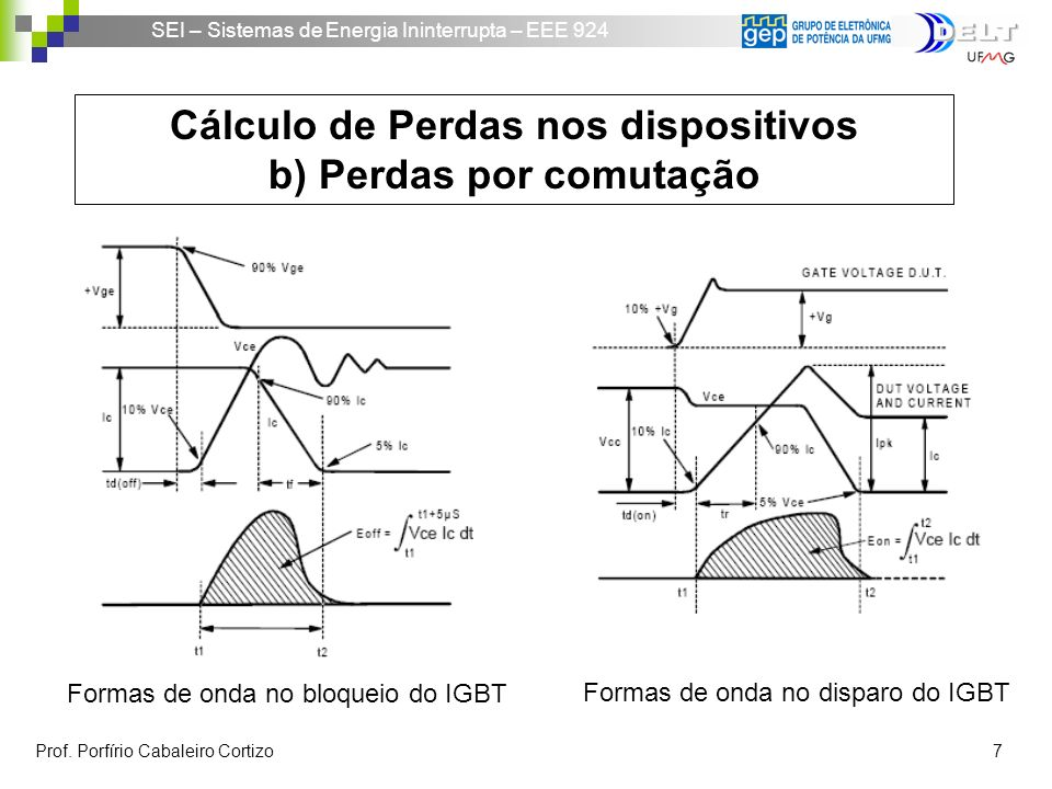 Cálculo de Perdas nos dispositivos b) Perdas por comutação