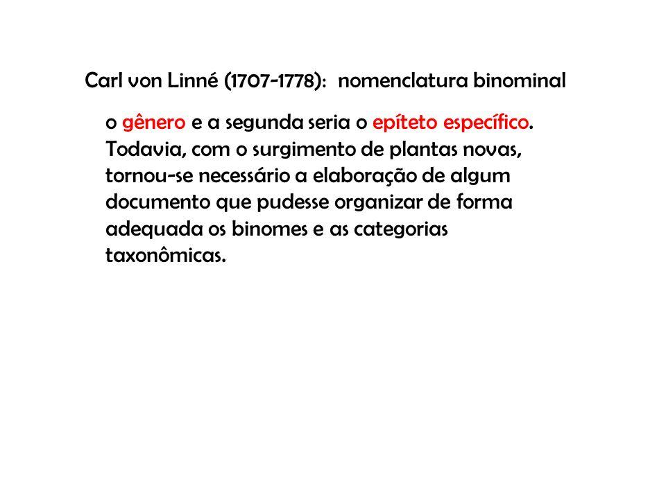 Carl von Linné (1707-1778): nomenclatura binominal