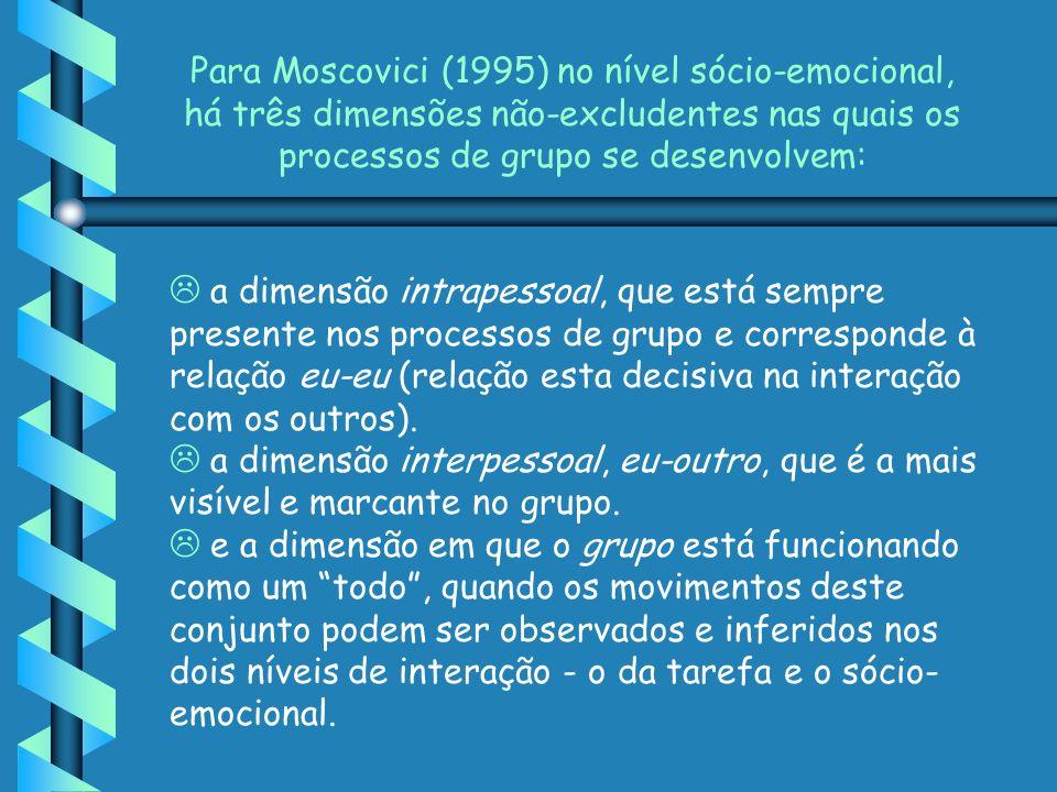 Para Moscovici (1995) no nível sócio-emocional, há três dimensões não-excludentes nas quais os processos de grupo se desenvolvem:
