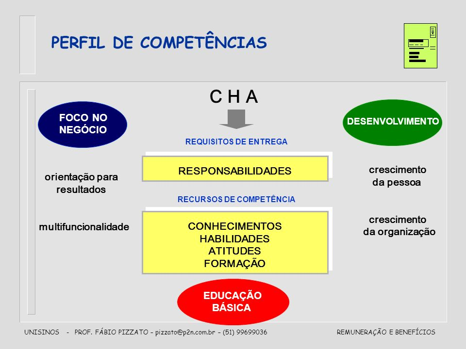 C H A PERFIL DE COMPETÊNCIAS FOCO NO NEGÓCIO RESPONSABILIDADES