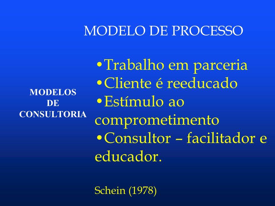 Estímulo ao comprometimento Consultor – facilitador e educador.